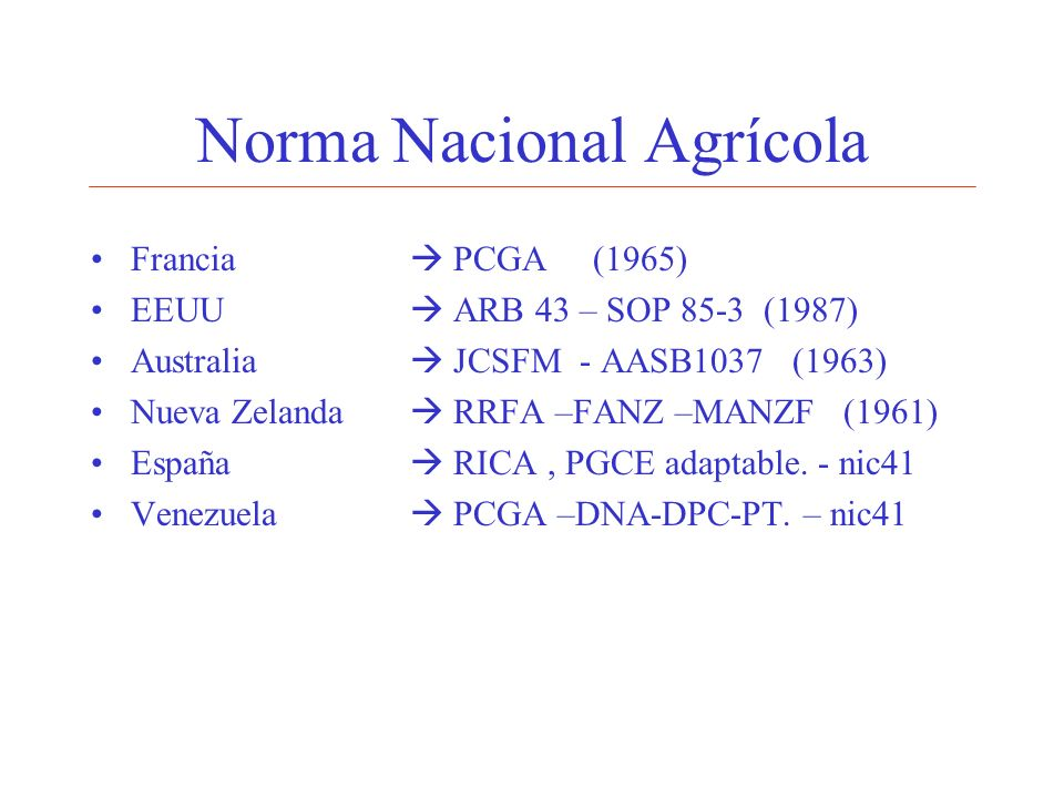 Norma Nacional Agrícola