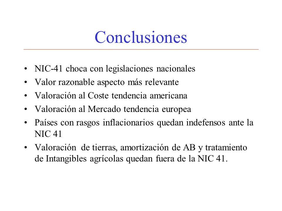 Conclusiones NIC-41 choca con legislaciones nacionales