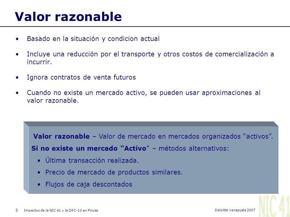 NIC 41 Valor razonable Basado en la situación y condicion actual