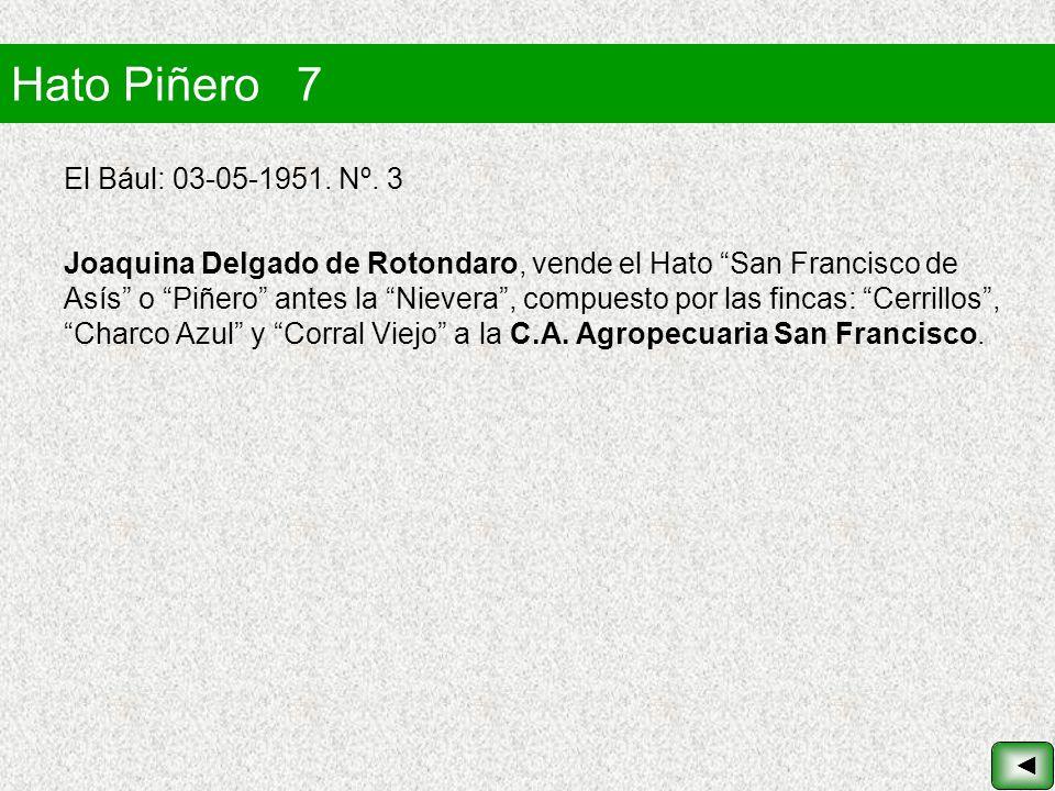 Hato Piñero 7 El Bául: 03-05-1951. Nº. 3