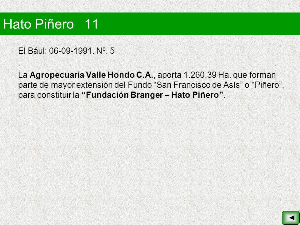 Hato Piñero 11 El Bául: 06-09-1991. Nº. 5