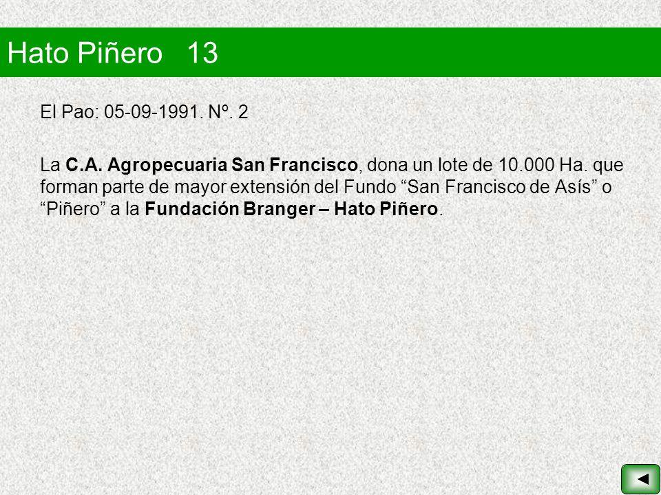 Hato Piñero 13 El Pao: 05-09-1991. Nº. 2