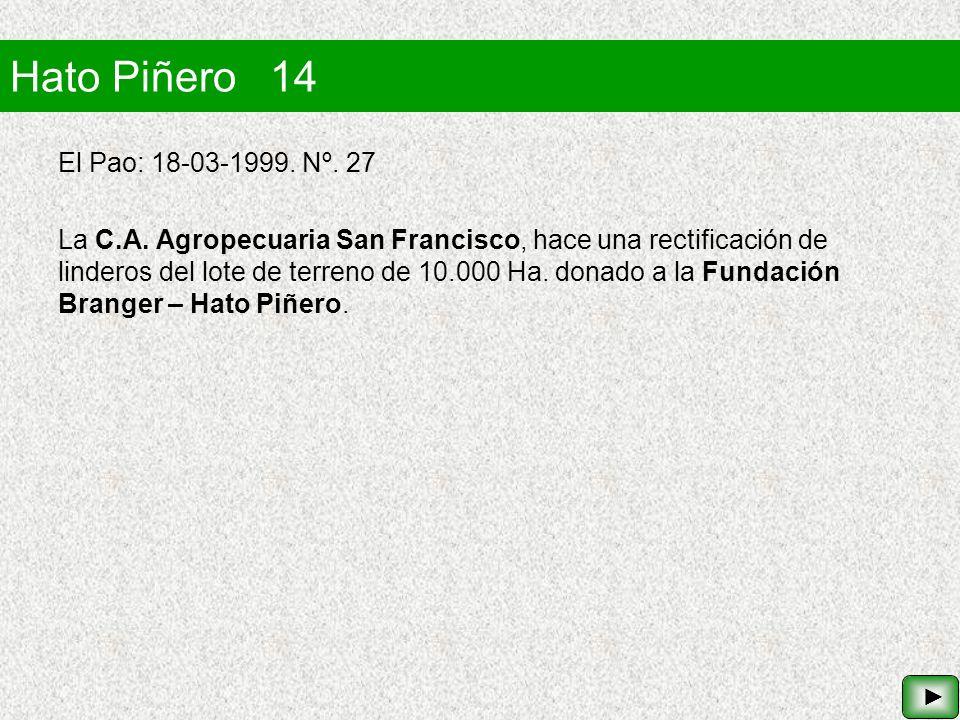 Hato Piñero 14 El Pao: 18-03-1999. Nº. 27