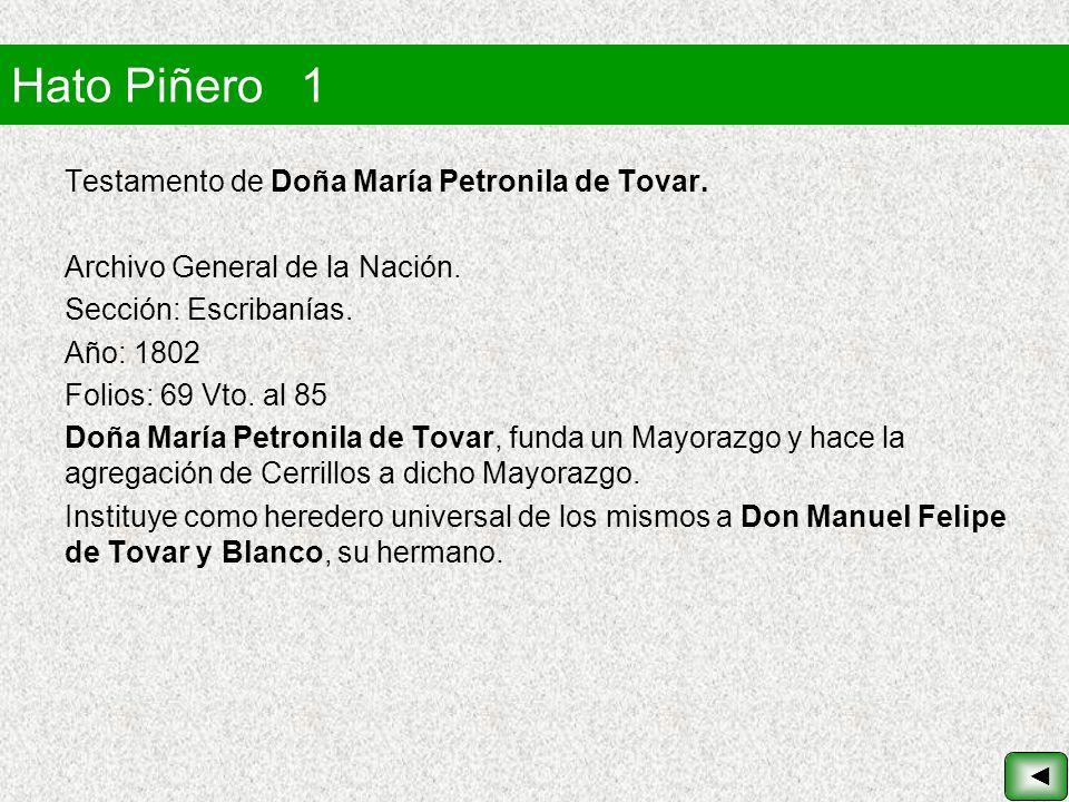 Hato Piñero 1 Testamento de Doña María Petronila de Tovar.