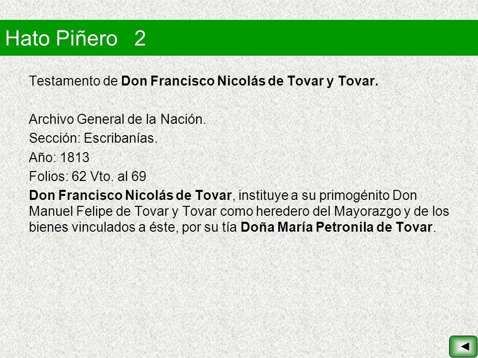 Hato Piñero 2 Testamento de Don Francisco Nicolás de Tovar y Tovar.
