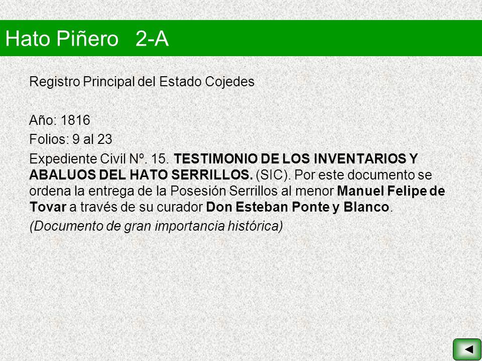 Hato Piñero 2-A Registro Principal del Estado Cojedes Año: 1816