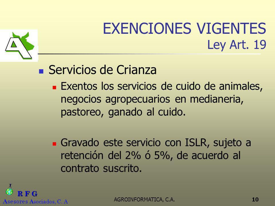 EXENCIONES VIGENTES Ley Art. 19