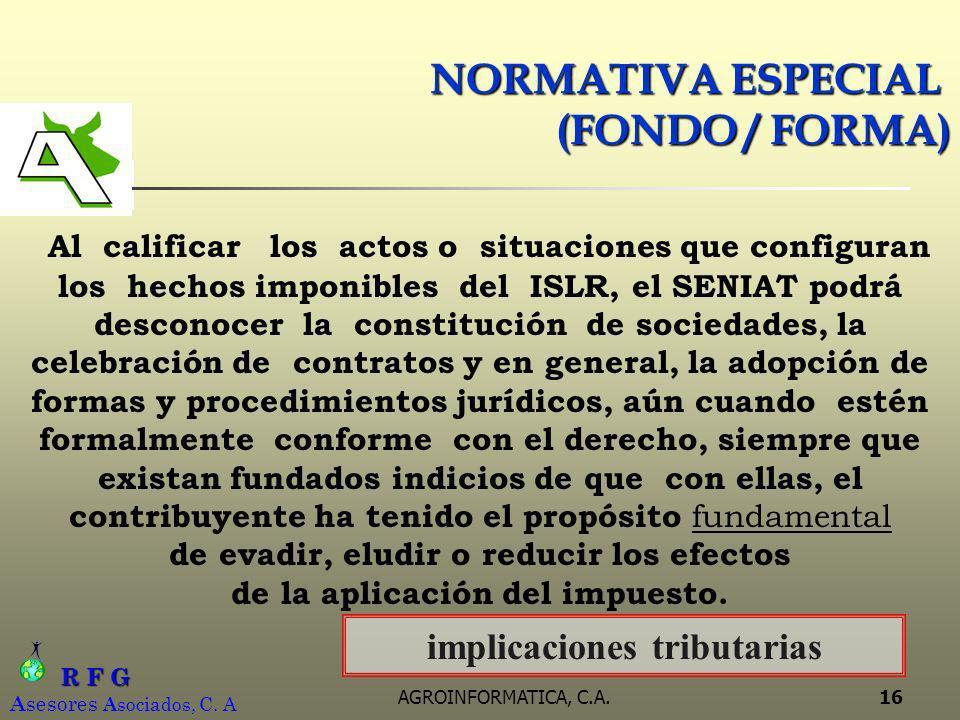 NORMATIVA ESPECIAL (FONDO / FORMA)