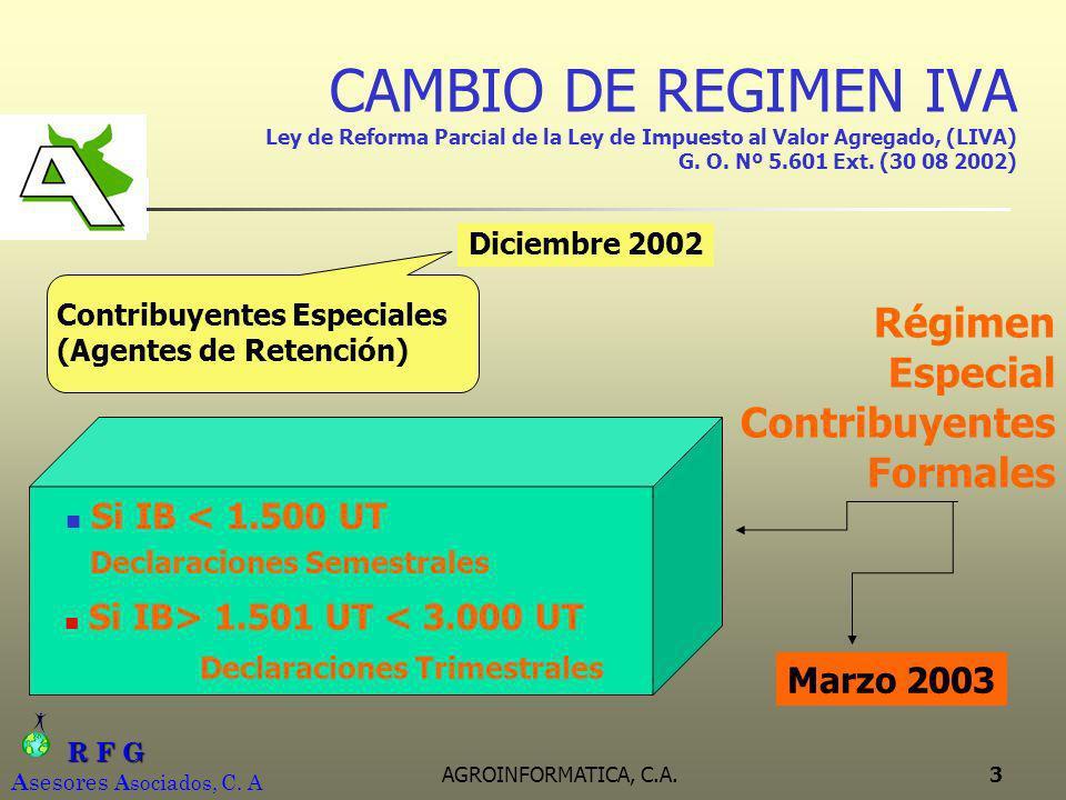 CAMBIO DE REGIMEN IVA Ley de Reforma Parcial de la Ley de Impuesto al Valor Agregado, (LIVA) G. O. Nº 5.601 Ext. (30 08 2002)