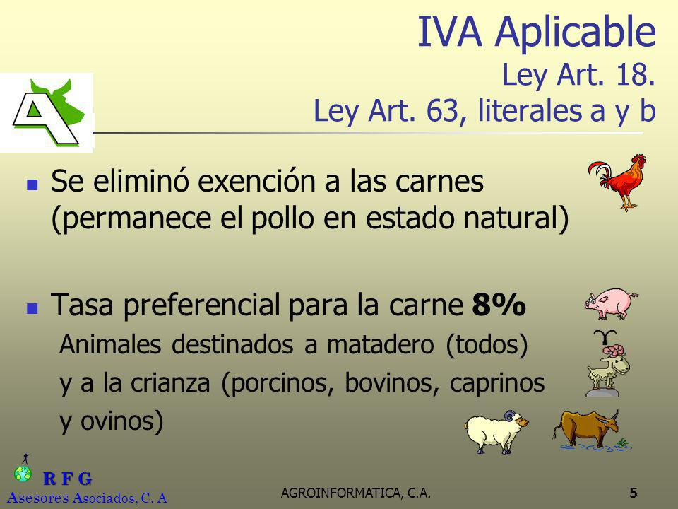 IVA Aplicable Ley Art. 18. Ley Art. 63, literales a y b