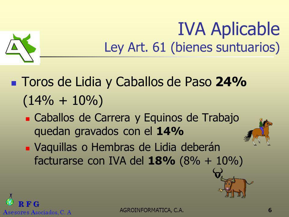 IVA Aplicable Ley Art. 61 (bienes suntuarios)