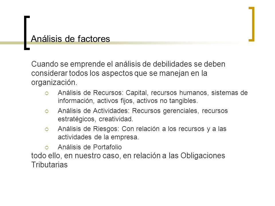 Análisis de factores Cuando se emprende el análisis de debilidades se deben. considerar todos los aspectos que se manejan en la.