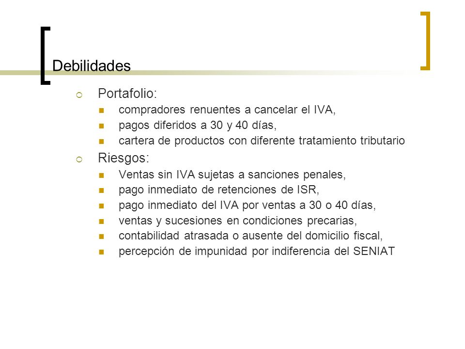 Debilidades Portafolio: Riesgos:
