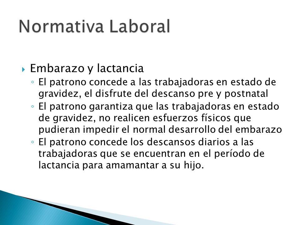 Normativa Laboral Embarazo y lactancia
