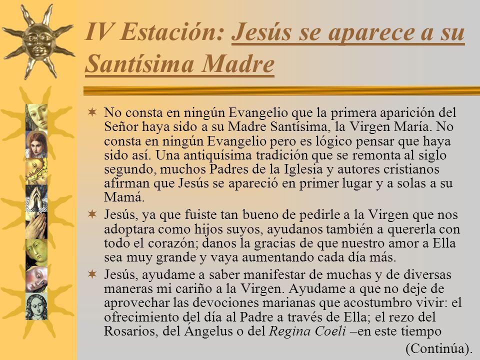 IV Estación: Jesús se aparece a su Santísima Madre