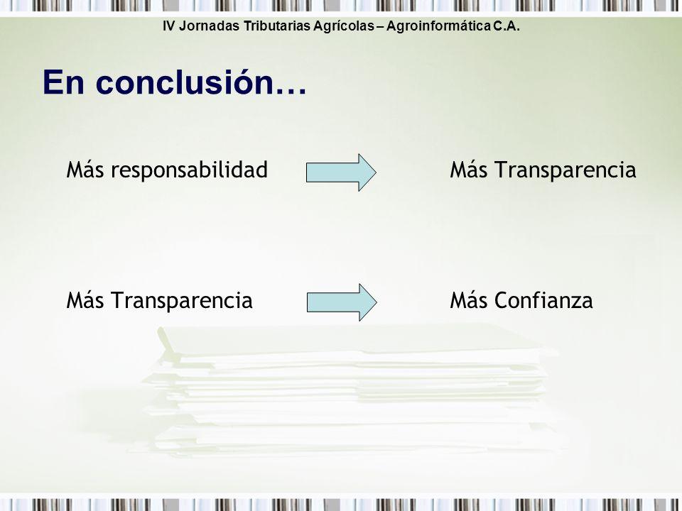 En conclusión… Más responsabilidad Más Transparencia