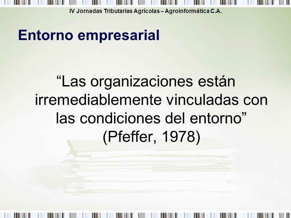 Entorno empresarial Las organizaciones están irremediablemente vinculadas con las condiciones del entorno (Pfeffer, 1978)