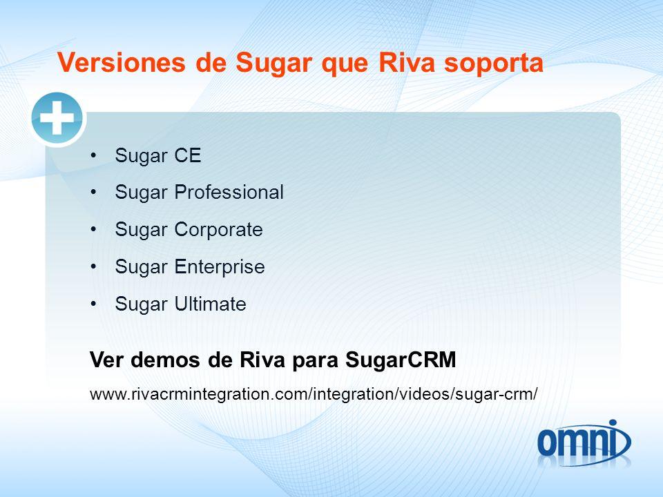 Versiones de Sugar que Riva soporta