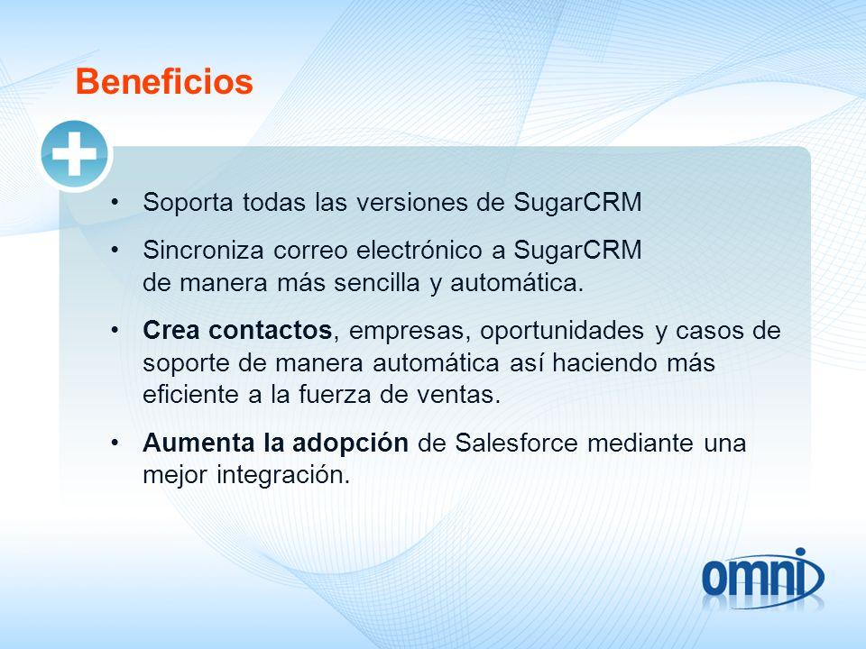 Beneficios Soporta todas las versiones de SugarCRM