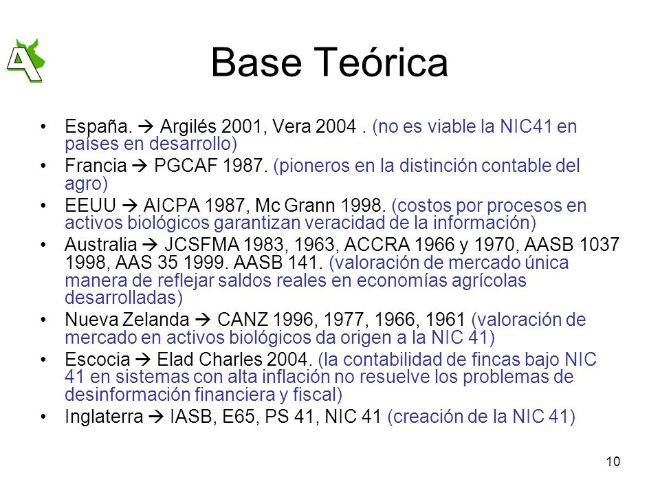 Base Teórica España.  Argilés 2001, Vera 2004 . (no es viable la NIC41 en países en desarrollo)