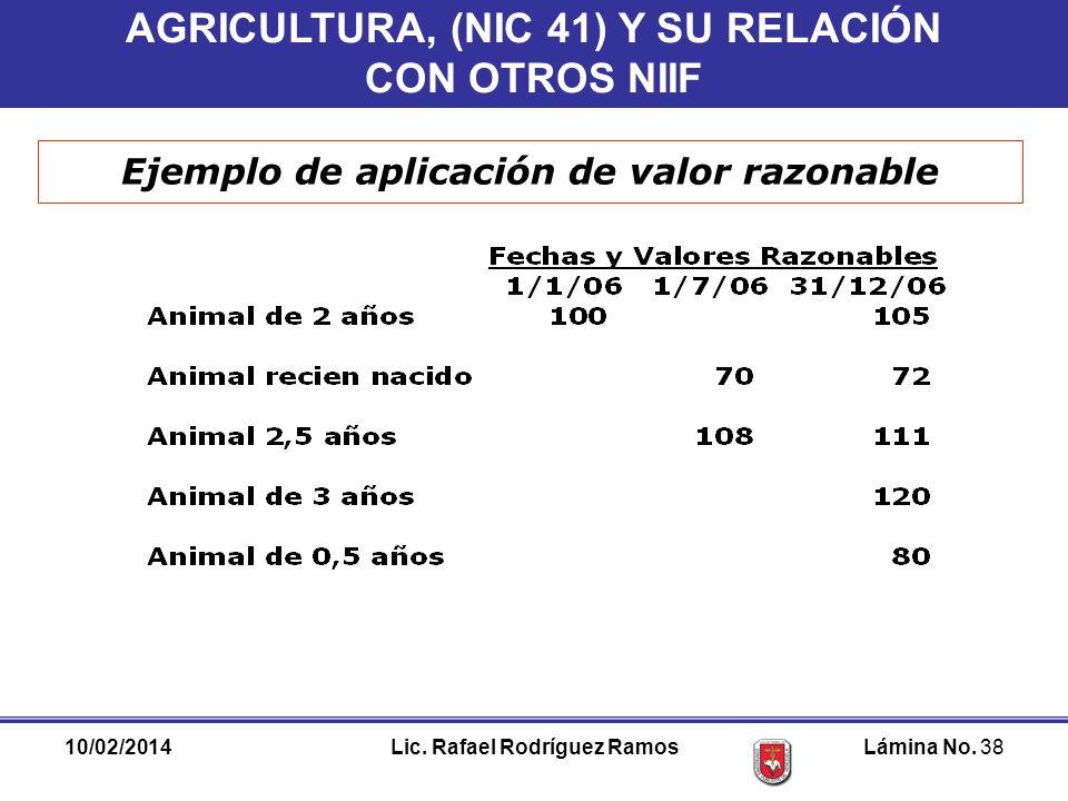 AGRICULTURA, (NIC 41) Y SU RELACIÓN CON OTROS NIIF