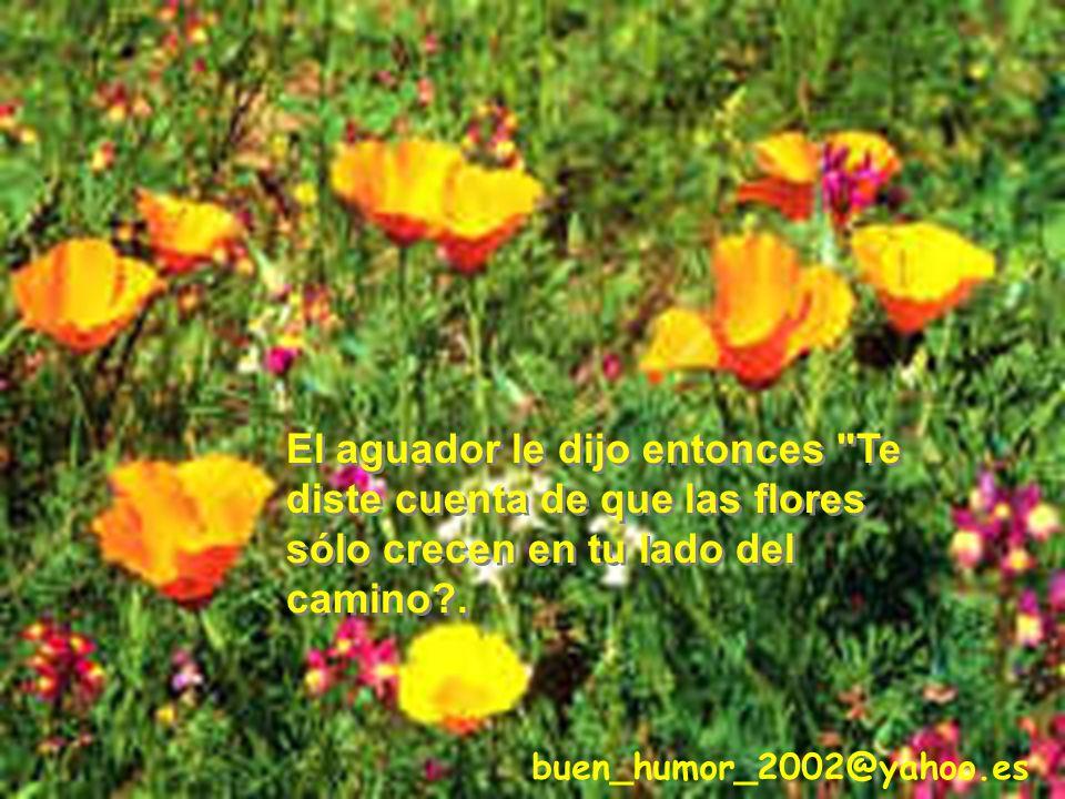 El aguador le dijo entonces Te diste cuenta de que las flores sólo crecen en tu lado del camino .