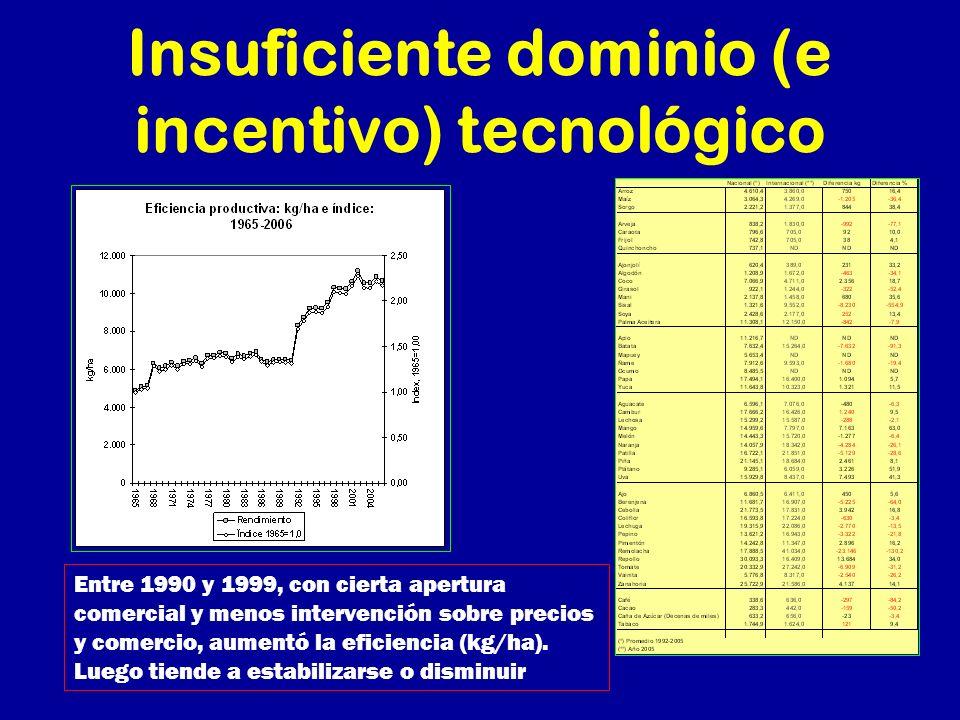 Insuficiente dominio (e incentivo) tecnológico