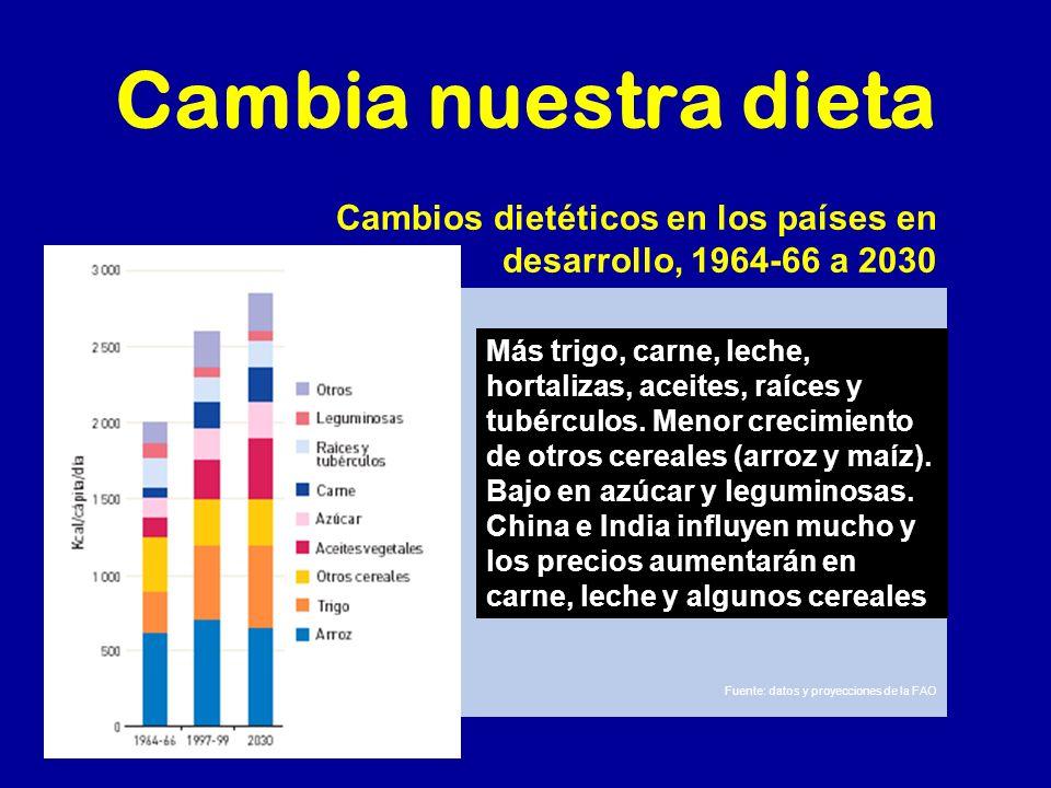 Cambia nuestra dieta Cambios dietéticos en los países en desarrollo, 1964-66 a 2030.