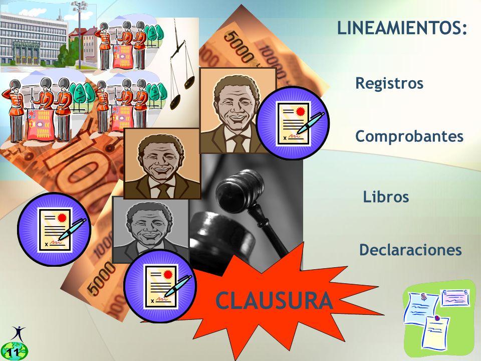 LINEAMIENTOS: Registros Comprobantes Libros Declaraciones CLAUSURA