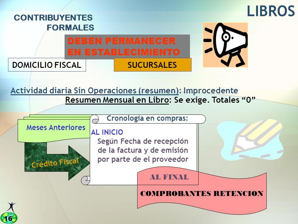 LIBROS DEBEN PERMANECER EN ESTABLECIMIENTO CONTRIBUYENTES FORMALES