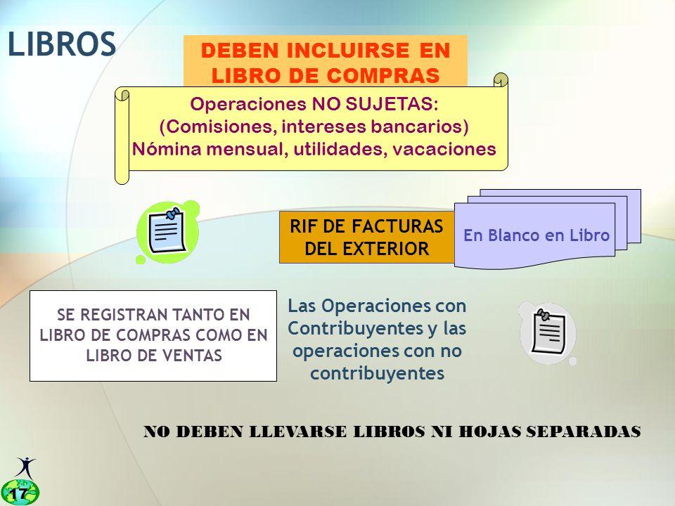 LIBROS DEBEN INCLUIRSE EN LIBRO DE COMPRAS Operaciones NO SUJETAS: