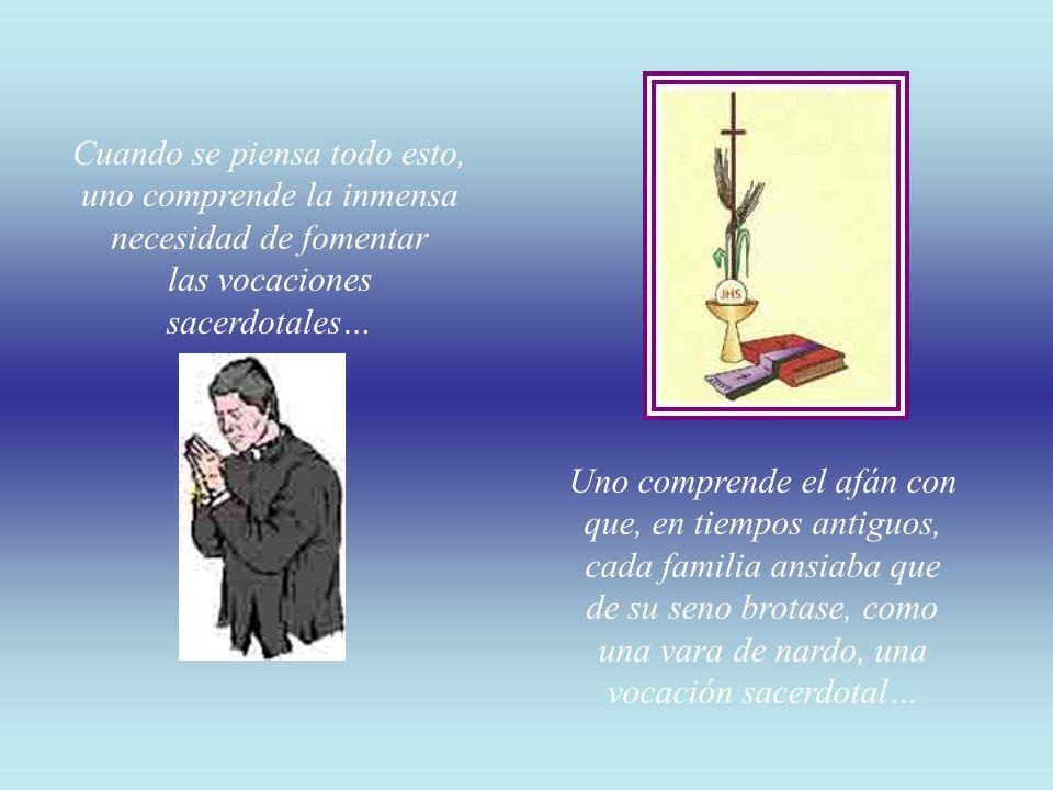 Cuando se piensa todo esto, uno comprende la inmensa necesidad de fomentar las vocaciones sacerdotales…