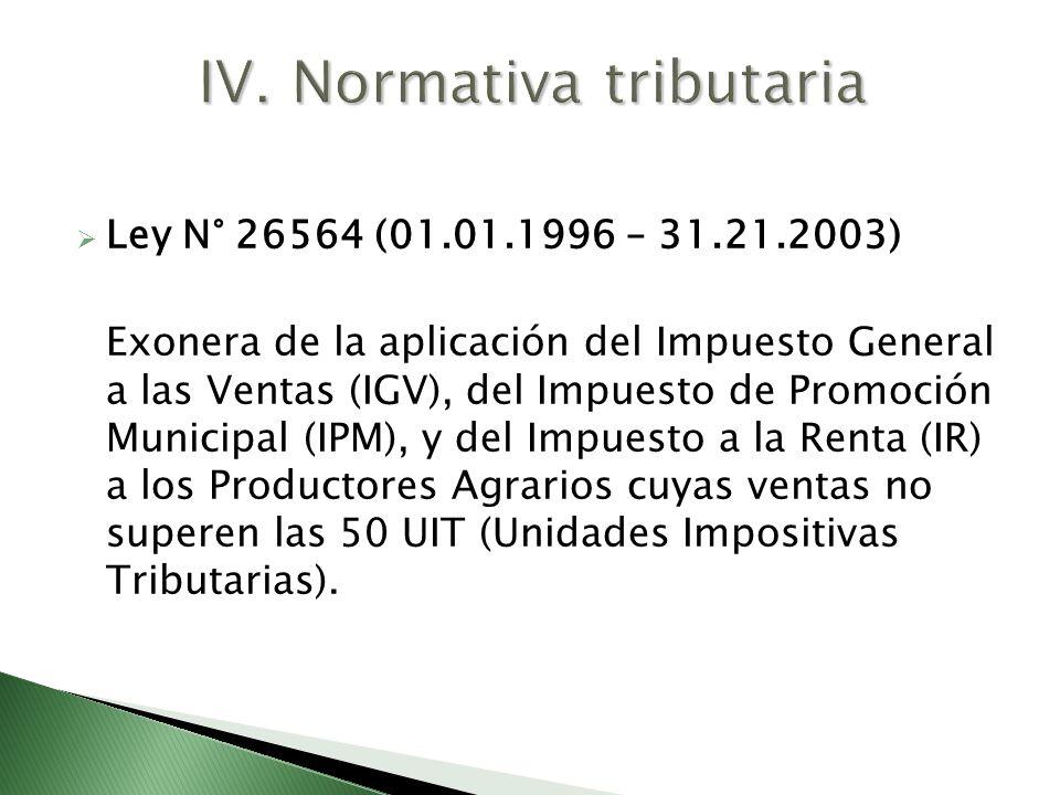 IV. Normativa tributaria