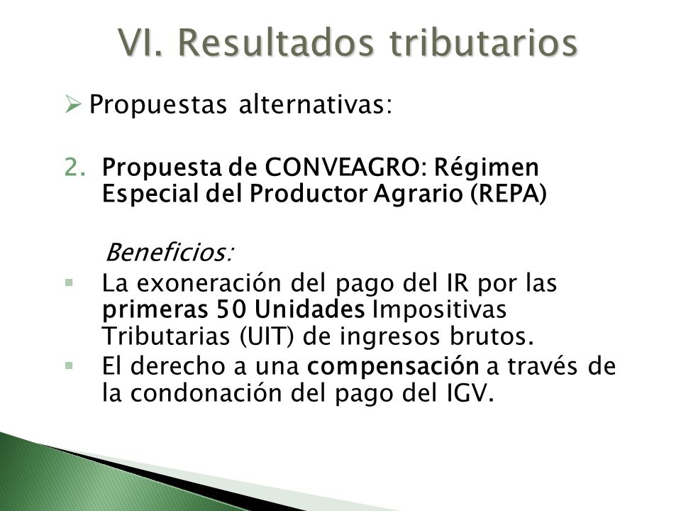 VI. Resultados tributarios