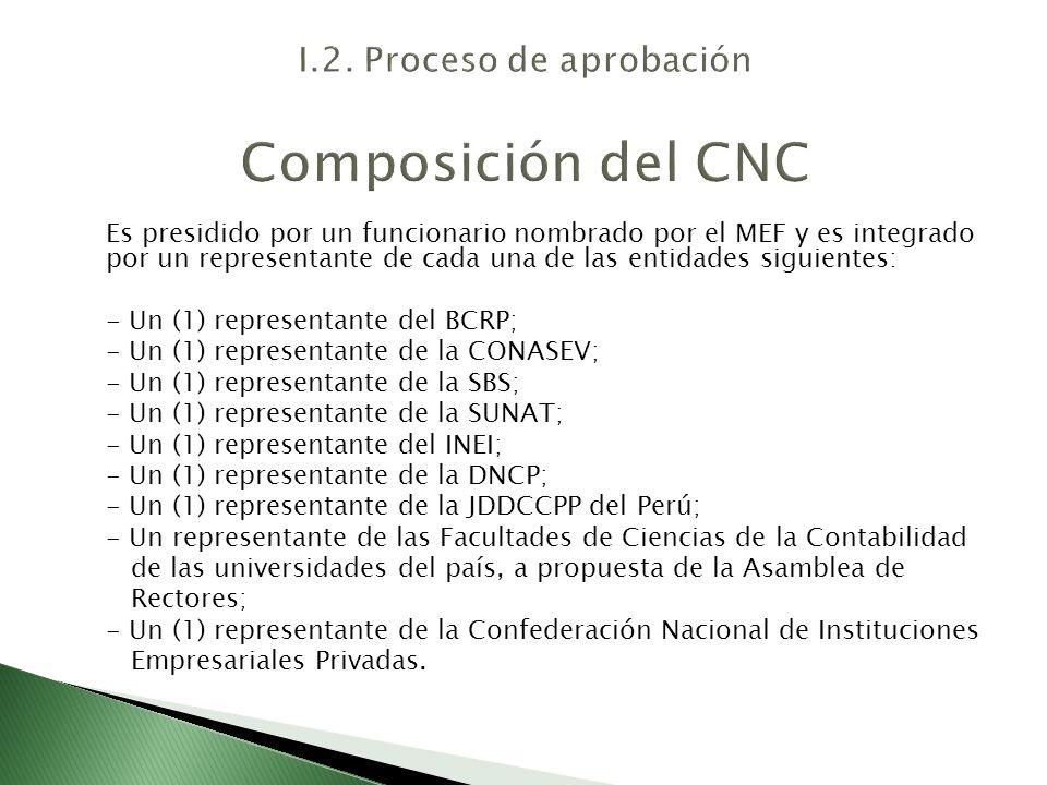 I.2. Proceso de aprobación Composición del CNC