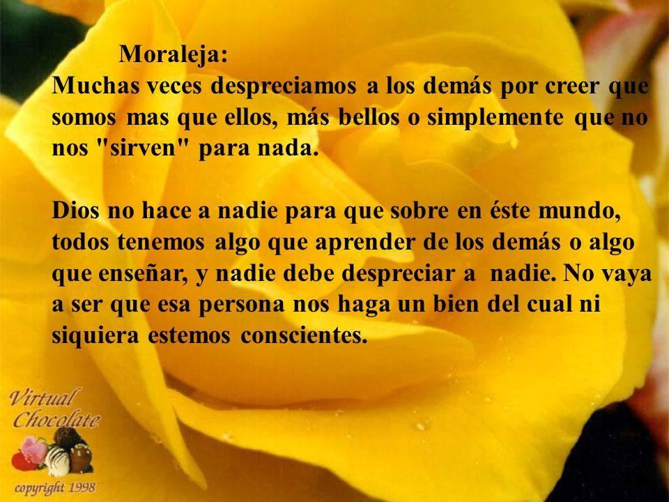 Moraleja: Muchas veces despreciamos a los demás por creer que somos mas que ellos, más bellos o simplemente que no nos sirven para nada.