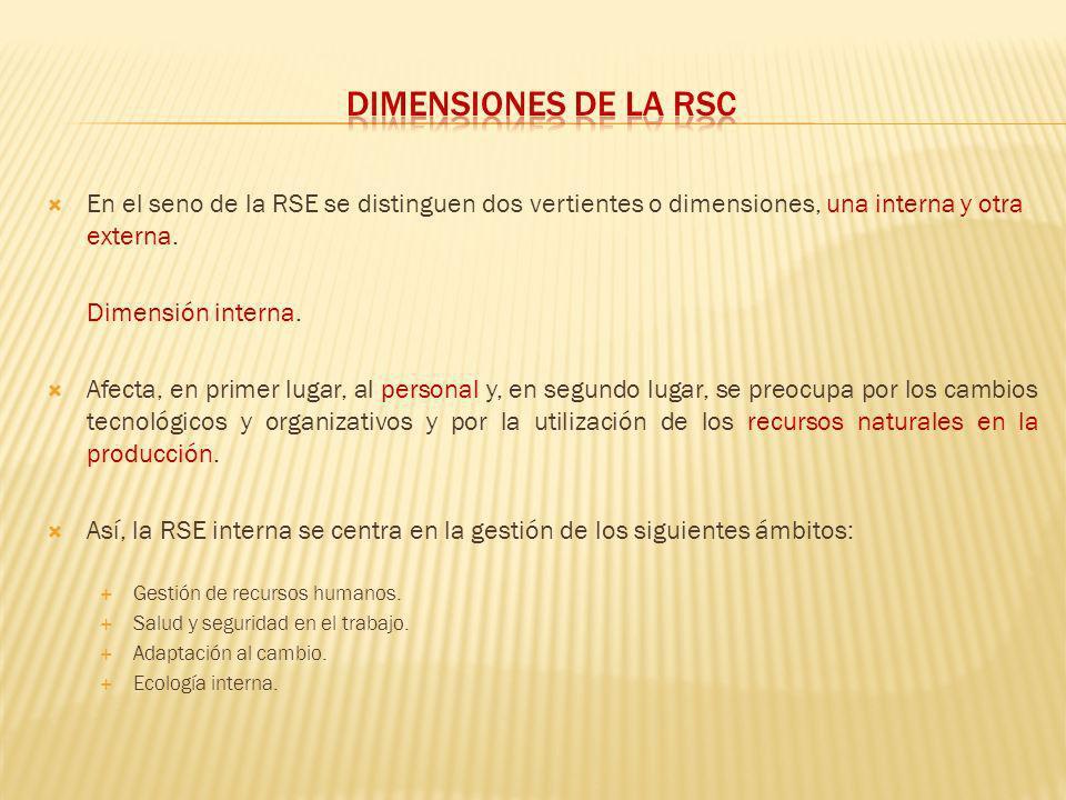Dimensiones de la rsc En el seno de la RSE se distinguen dos vertientes o dimensiones, una interna y otra externa.