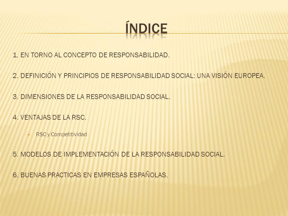 ÍNDICE 1. EN TORNO AL CONCEPTO DE RESPONSABILIDAD.