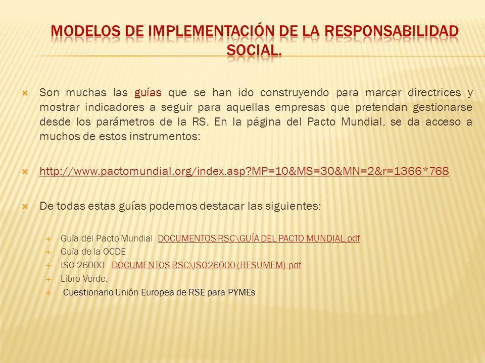 MODELOS DE IMPLEMENTACIÓN DE LA RESPONSABILIDAD SOCIAL.