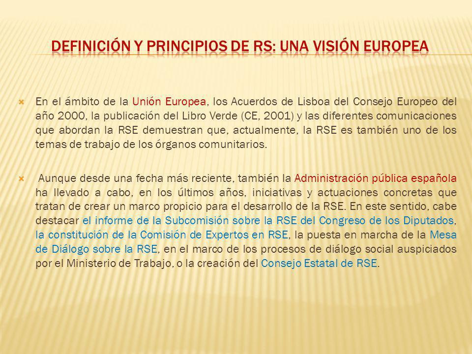 Definición y principios de rs: una visión europea