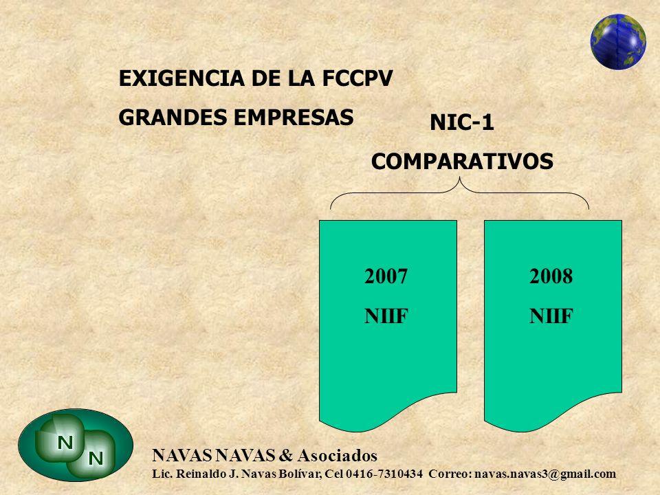 EXIGENCIA DE LA FCCPV GRANDES EMPRESAS NIC-1 COMPARATIVOS 2008 NIIF 2007