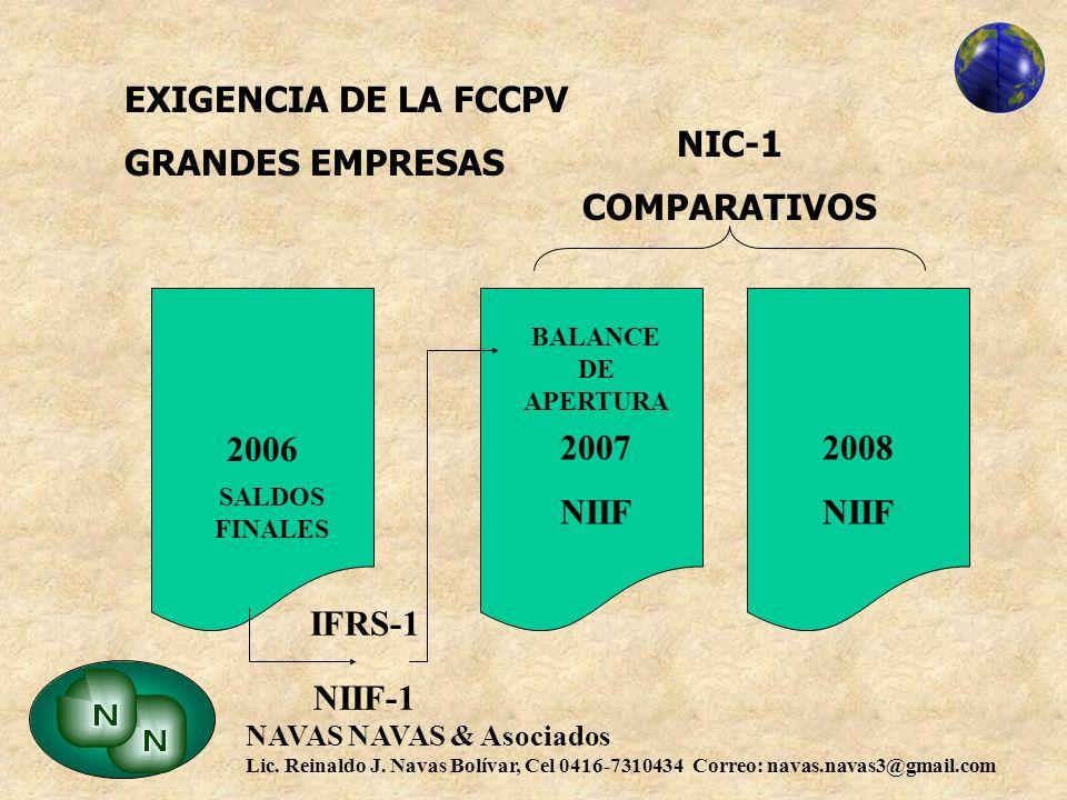 EXIGENCIA DE LA FCCPV GRANDES EMPRESAS 2008 NIIF 2007 NIC-1