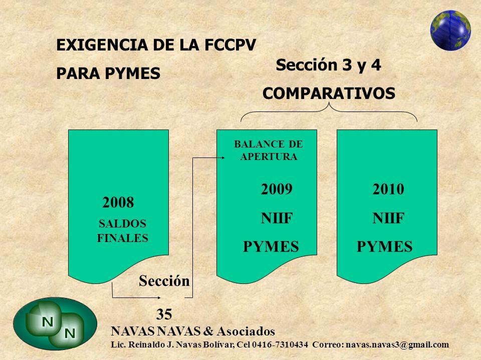 EXIGENCIA DE LA FCCPV PARA PYMES Sección 3 y 4 COMPARATIVOS 2009 NIIF