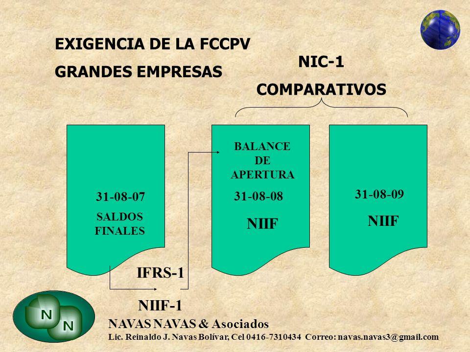EXIGENCIA DE LA FCCPV GRANDES EMPRESAS NIC-1 COMPARATIVOS 31-08-07