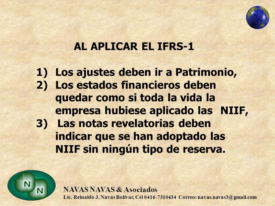 AL APLICAR EL IFRS-1 1). Los ajustes deben ir a Patrimonio, 2)