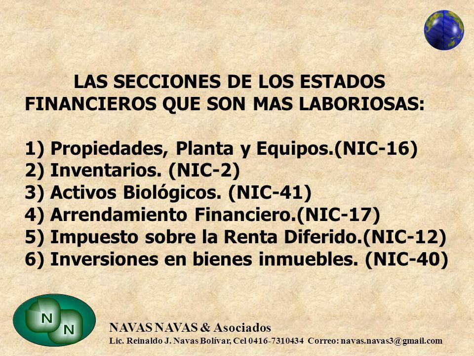 LAS SECCIONES DE LOS ESTADOS FINANCIEROS QUE SON MAS LABORIOSAS: 1) Propiedades, Planta y Equipos.(NIC-16) 2) Inventarios.