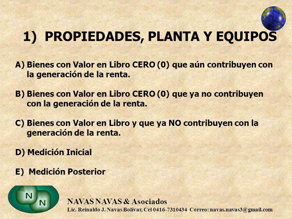 1) PROPIEDADES, PLANTA Y EQUIPOS A) Bienes con Valor en Libro CERO (0) que aún contribuyen con la generación de la renta.