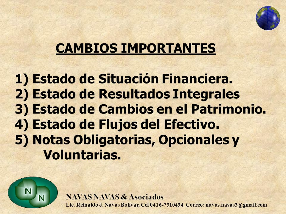 CAMBIOS IMPORTANTES 1) Estado de Situación Financiera
