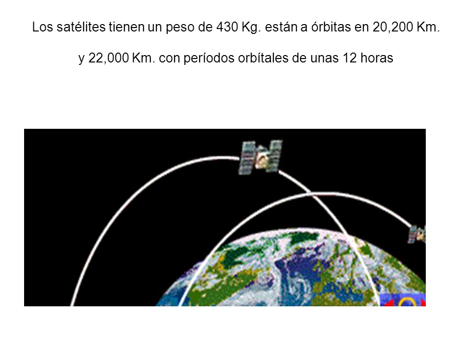 Los satélites tienen un peso de 430 Kg. están a órbitas en 20,200 Km
