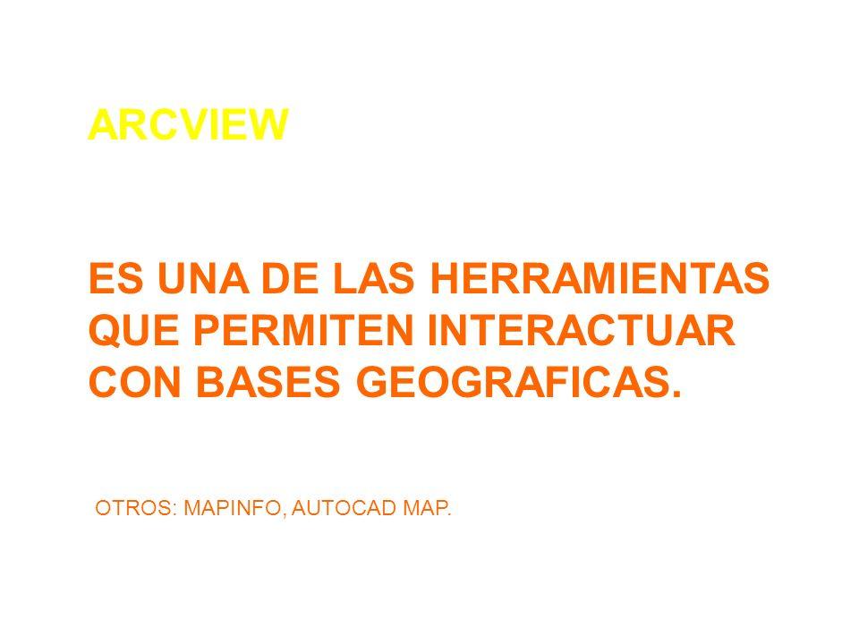 ARCVIEW ES UNA DE LAS HERRAMIENTAS QUE PERMITEN INTERACTUAR CON BASES GEOGRAFICAS.